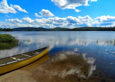 A canoe and a lake